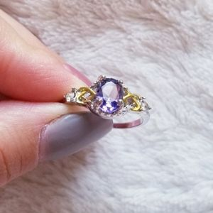 Ring silver gold details amethyst stone purple new